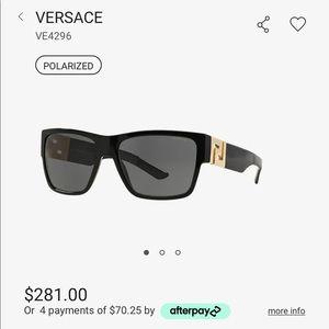 Black Versace Greca Logo Polarized Sunglasses